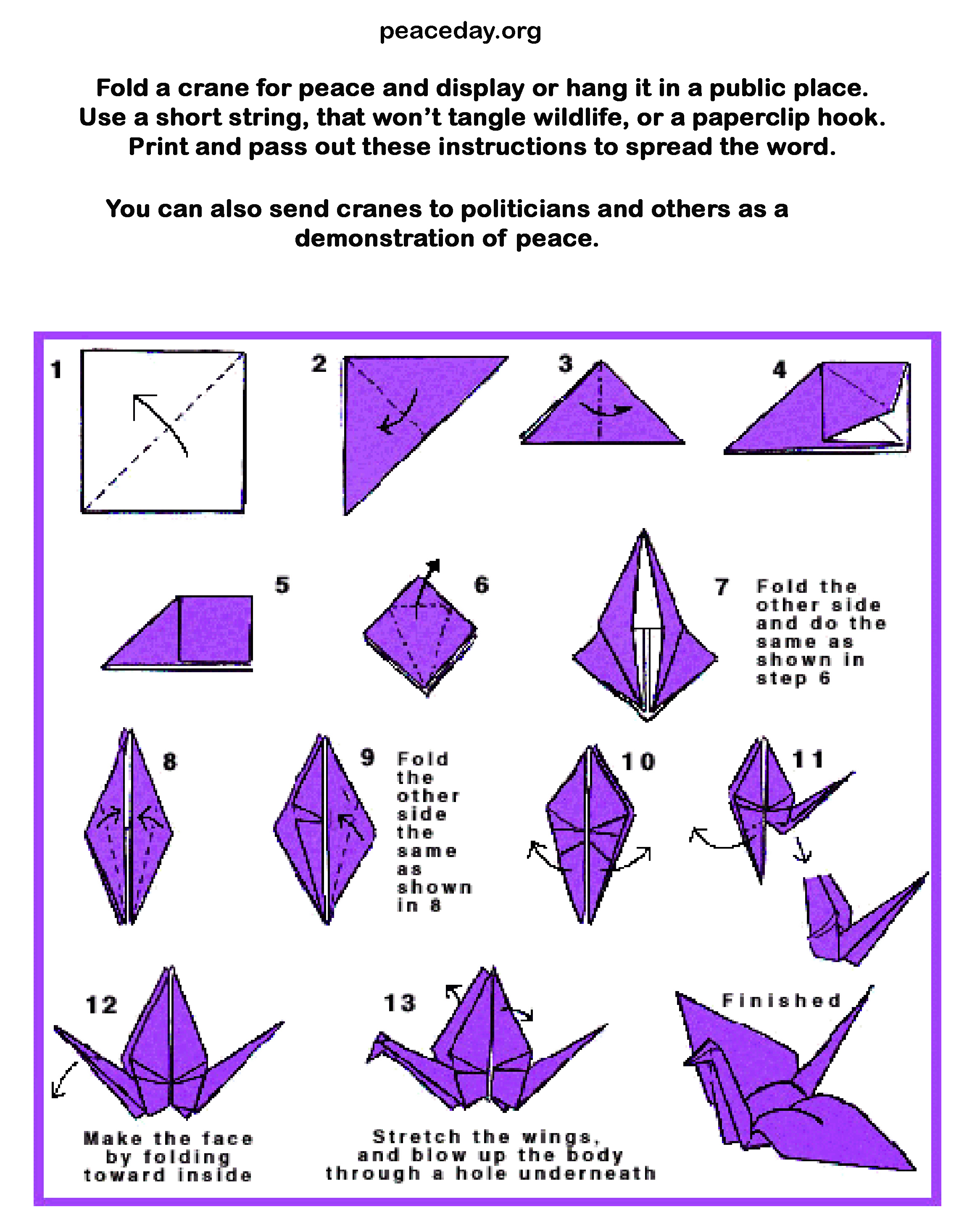graphic about Origami Crane Instructions Printable known as International Rest Working day